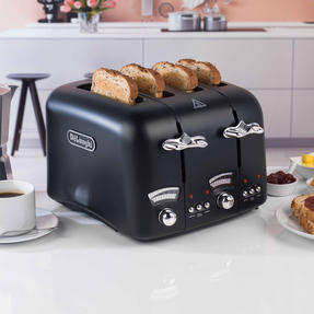 DeLonghi CTO4BK Argento Four Slice Toaster, 1600 W, Stainless Steel, Black Thumbnail 3