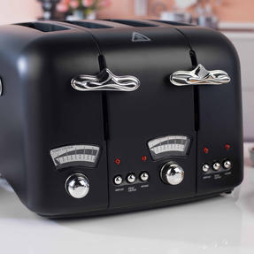 DeLonghi CTO4BK Argento Four Slice Toaster, 1600 W, Stainless Steel, Black Thumbnail 7