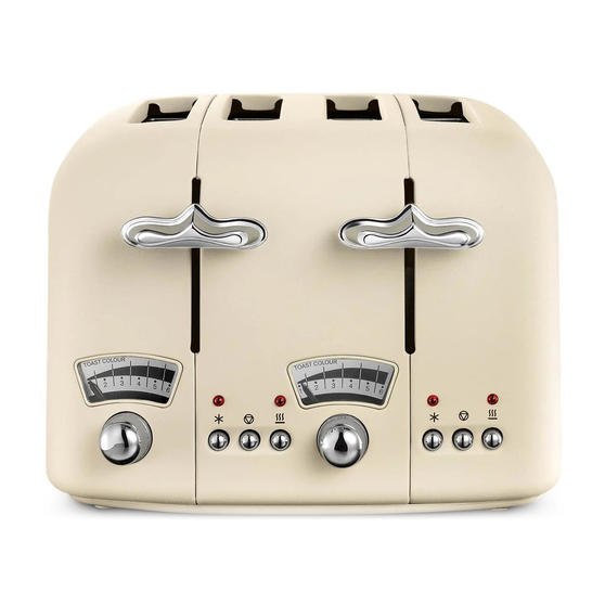 DeLonghi CT04E Argento Retro-Style Four Slice Toaster, 1600 W, Stainless Steel, Cream