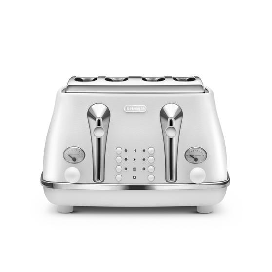 DeLonghi CTOE4003W Icona Elements Four Slice Toaster, 1800 W, White, Stainless Steel