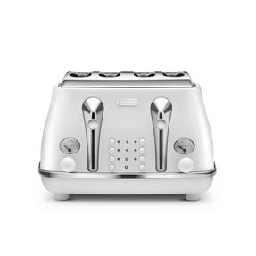 DeLonghi CTOE4003W Icona Elements Four Slice Toaster, 1800 W, White, Stainless Steel Thumbnail 1