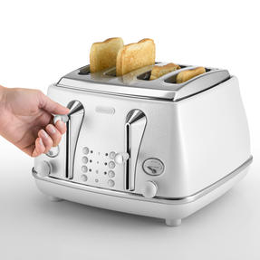 DeLonghi CTOE4003W Icona Elements Four Slice Toaster, 1800 W, White, Stainless Steel Thumbnail 2