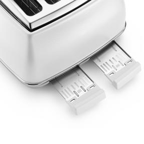 DeLonghi CTOE4003W Icona Elements Four Slice Toaster, 1800 W, White, Stainless Steel Thumbnail 4