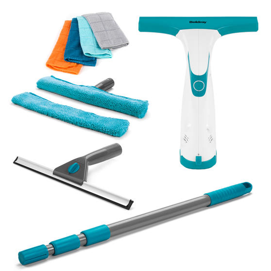 Beldray Window Vacuum Cleaner and Window Cleaning Set with 4 Microfibre Cloths