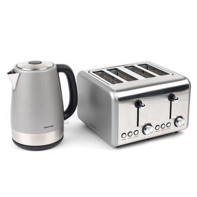 Salter Metallics Polaris Jug Kettle and 4-Slice Toaster Set, Titanium Edition