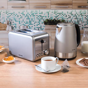Salter COMBO-3648 Metallics Polaris Jug Kettle and 2-Slice Toaster Set, Titanium Edition Thumbnail 4
