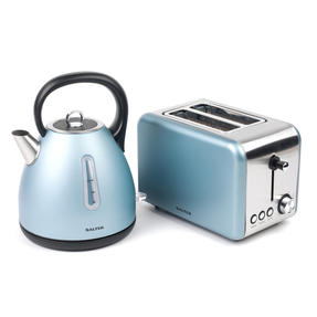 Salter Metallics Polaris Dome Kettle and 2-Slice Toaster Set, Pearl Blue Edition