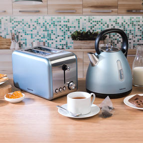Salter Metallics Polaris Dome Kettle and 2-Slice Toaster Set, Pearl Blue Edition Thumbnail 4