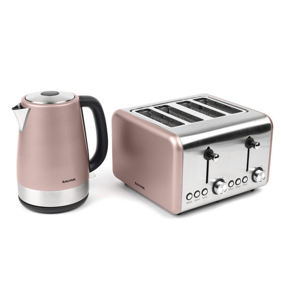 Salter COMBO-3652 Metallics Polaris Jug Kettle and 4-Slice Toaster Set, Champagne Edition