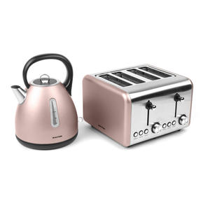 Salter Metallics Polaris Dome Kettle and 4-Slice Toaster Set, Champagne Edition