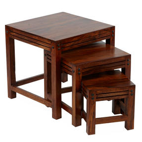 Sheesham SRF108395AR Nest of Coffee Tables, Wood, Set of Three