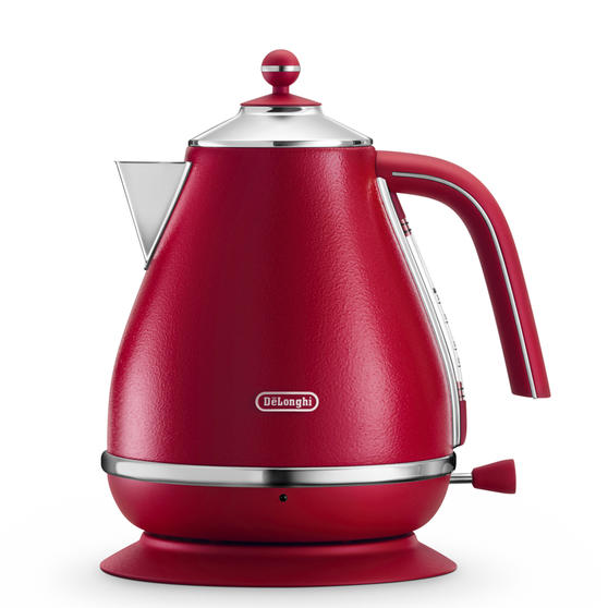 DeLonghi KBOE3001R Icona Elements Kettle, 1.7 L, 3000 W, Stainless Steel, Red