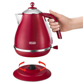 DeLonghi KBOE3001R Icona Elements Kettle, 1.7 L, 3000 W, Stainless Steel, Red Thumbnail 3