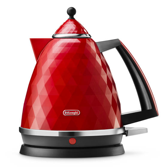 DeLonghi KBJ3001R Brilliante Kettle, 1.7 L, 2000 W, Plastic, Red