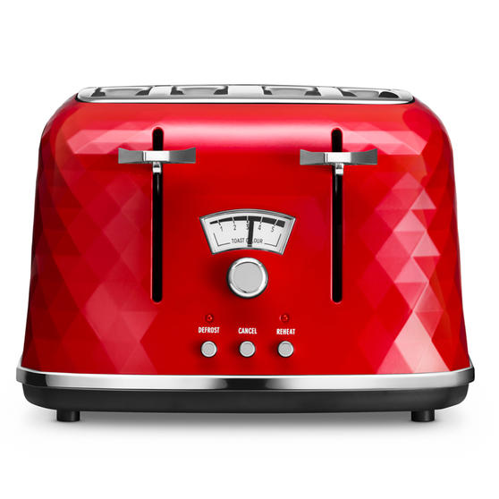 DeLonghi CTJ4003R Brilliante Four-Slice Toaster, 1800 W, Red