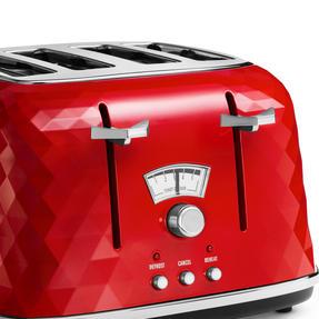 DeLonghi CTJ4003R Brilliante Four-Slice Toaster, 1800 W, Red Thumbnail 2