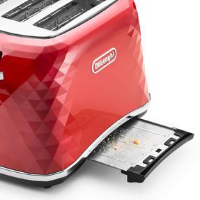 DeLonghi CTJ4003R Brilliante Four-Slice Toaster, 1800 W, Red Thumbnail 3