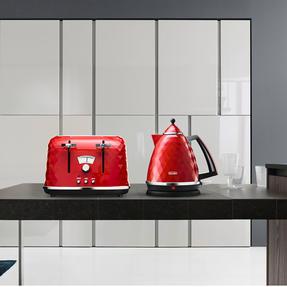 DeLonghi CTJ4003R Brilliante Four-Slice Toaster, 1800 W, Red Thumbnail 5