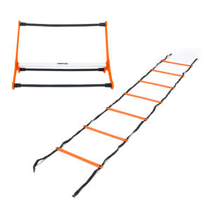 Gorilla Training COMBO-4065 Sports Agility Training Set with 5 Hurdles and 9m Speed Ladder, Black/Orange