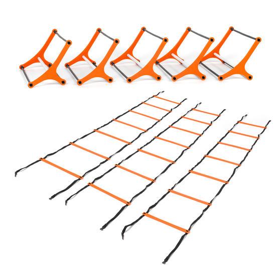 Gorilla Training COMBO-4066 Sports Agility Training Set with 10 Hurdles and 18m Speed Ladder, Black/Orange