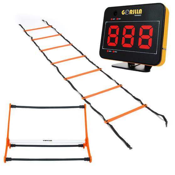 Gorilla Training COMBO-4067 Speed Vision with 5 Hurdles and 9m Speed Ladder, Black/Orange