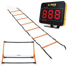 Gorilla Training COMBO-4067 Speed Vision with 5 Hurdles and 9m Speed Ladder, Black/Orange