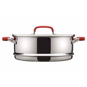Pyrex P500735 Passion Steamer with Lid, 24 cm, Stainless Steel, Red Thumbnail 3