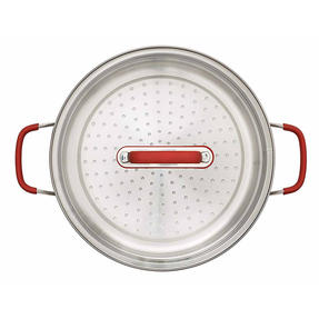 Pyrex P500735 Passion Steamer with Lid, 24 cm, Stainless Steel, Red Thumbnail 4
