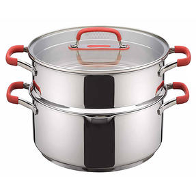 Pyrex P500735 Passion Steamer with Lid, 24 cm, Stainless Steel, Red Thumbnail 7