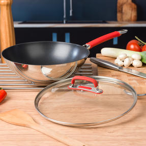 Pyrex P500737 Passion Non-Stick Stir Fry Pan with Lid, 28 cm, Stainless Steel, Red Thumbnail 3