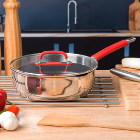 Pyrex P500886 Passion Non-Stick Sauté Pan with Lid, 24 cm, Stainless Steel, Red Thumbnail 4
