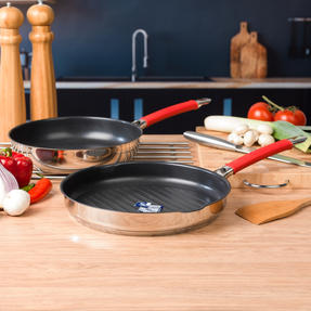 Pyrex COMBO-4092 Passion Non Stick Frying Pan and Grill Pan Set, 26 / 28 CM, Stainless Steel / Red Thumbnail 2
