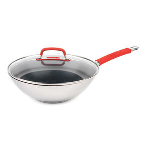 Pyrex COMBO-4093 Passion Non Stick Frying Pan and Stir Fry Pan, 26 / 28 CM, Stainless Steel / Red Thumbnail 4