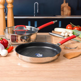Pyrex COMBO-4094 Passion Non Stick Saute Pan and Gril Pan, 24 / 28 CM, Stainless Steel / Red Thumbnail 2