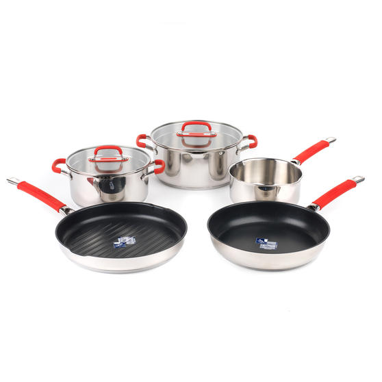 Pyrex COMBO-4095 Passion 5 Piece Non Stick Oven Safe Cookware, Stainless Steel / Red