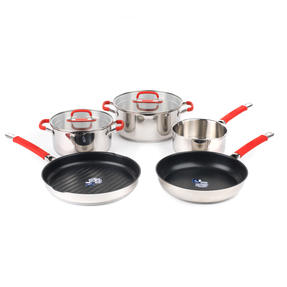 Pyrex COMBO-4095 Passion 5 Piece Non Stick Oven Safe Cookware, Stainless Steel / Red Thumbnail 1
