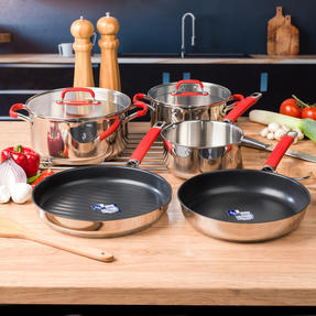 Pyrex COMBO-4095 Passion 5 Piece Non Stick Oven Safe Cookware, Stainless Steel / Red Thumbnail 2