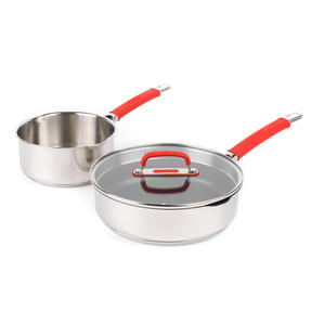 Pyrex COMBO-4096 Passion Saucepan and Saute Pan Set, 18 / 24 CM, Stainless Steel / Red