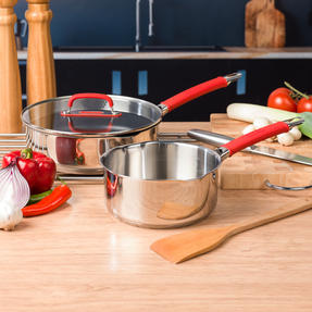 Pyrex COMBO-4096 Passion Saucepan and Saute Pan Set, 18 / 24 CM, Stainless Steel / Red Thumbnail 2