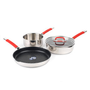 Pyrex COMBO-4097 Passion Saucepan, Saute Pan and Grill Pan Set, 18 / 24 / 28 CM, Stainless Steel / Red