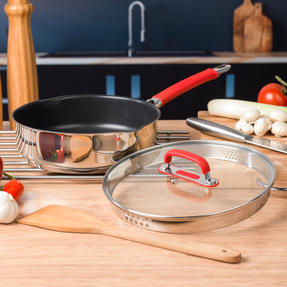 Pyrex COMBO-4097 Passion Saucepan, Saute Pan and Grill Pan Set, 18 / 24 / 28 CM, Stainless Steel / Red Thumbnail 7