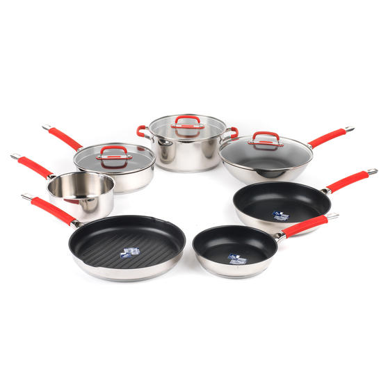 Pyrex COMBO-4098 Passion 7 Piece Non Stick Oven Safe Cookware, Stainless Steel / Red