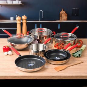Pyrex COMBO-4098 Passion 7 Piece Non Stick Oven Safe Cookware, Stainless Steel / Red Thumbnail 2