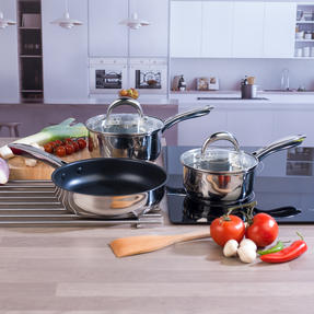 Russell Hobbs COMBO-4037 Optimum Collection Saucepans and Frying Pan, 16 / 18 / 24 CM, Stainless Steel Thumbnail 3