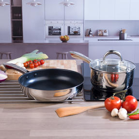 Russell Hobbs COMBO-4038 Optimum Collection Saucepan and Frying Pan Set, 20 / 28 CM, Stainless Steel Thumbnail 3