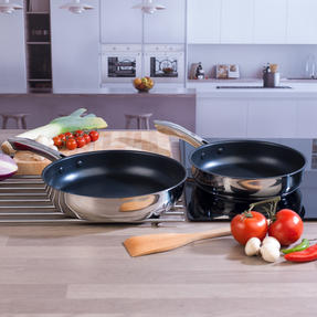 Russell Hobbs COMBO-4039 Optimum Collection Frying Pan Set, 24 / 28 CM, Stainless Steel, 2 Piece Thumbnail 2