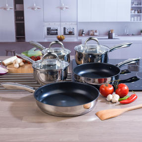 Russell Hobbs COMBO-4041 Optimum Collection Frying Pan and Saucepan Set, Stainless Steel, 5 Piece Set Thumbnail 3