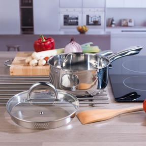Russell Hobbs COMBO-4041 Optimum Collection Frying Pan and Saucepan Set, Stainless Steel, 5 Piece Set Thumbnail 7