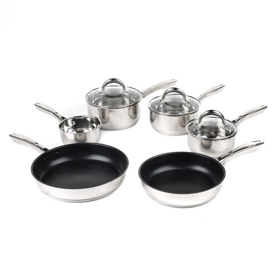 Russell Hobbs COMBO-4042 Optimum Collection Frying Pan and Saucepan Set, Stainless Steel, 6 Piece