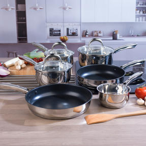 Russell Hobbs COMBO-4042 Optimum Collection Frying Pan and Saucepan Set, Stainless Steel, 6 Piece Thumbnail 2